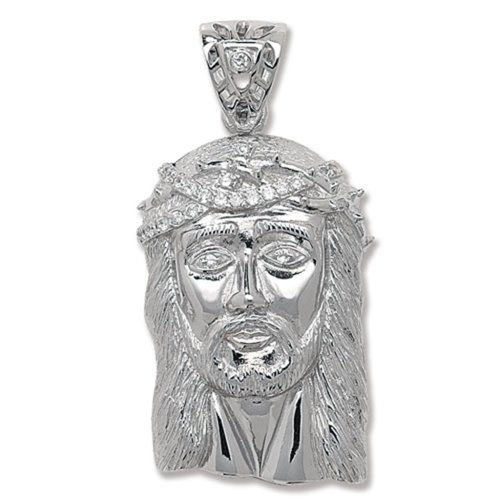 Sterling Silver Cubic Zirconia Jesus Head Pendant On A Snake Necklace