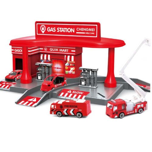 Petrol Station with 2 Alloy Toy Cars Interesting Children's Gifts-Red