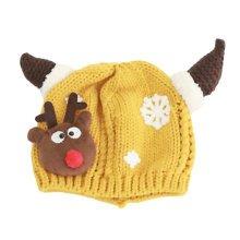 Winter Baby Kids Christmas Hats Warm Deer Crochet Caps Best Gift For 6-12 month Baby-Yellow