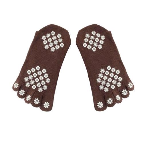 Women's Cotton Air Yoga Spcks Non-Slip Yoga Socks, M, Brown