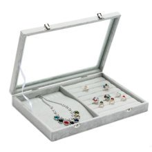 Jewelry Box Necklace Stand Rings Display Earrings Holder Organizer-D08