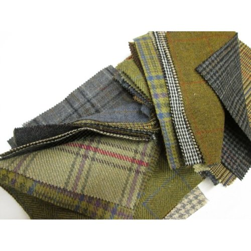 Tweed Patchwork 100% Wool Remnant Offcuts Squares 10 Pieces 23cm