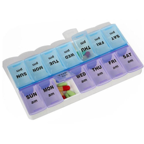 Portable Compartment Weekly Pill Organizer Box Case Medicine Storage Container