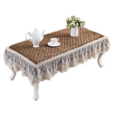 European Style Velvet Table Cover Coffee Dustproof Lace Tablecloth, Brown