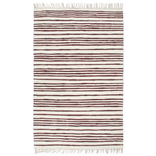 vidaXL Hand-woven Chindi Rug Cotton 120x170cm Burgundy and White Floor Carpet