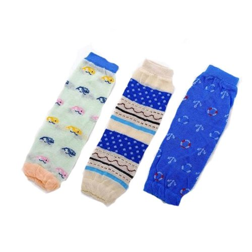 Baby Cotton Socks Baby Leggings Comfy Leg Guards,3 Sets?Blue )
