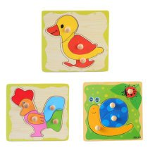 3 Pieces Wooden Kids Cute Animal Puzzled Educational Toy Puzzle,H