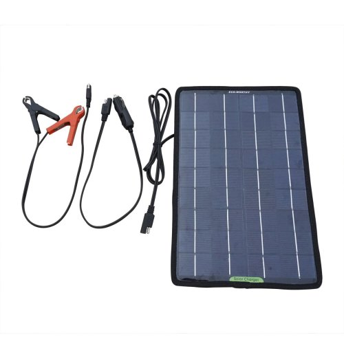 ECO-WORTHY 12 Volts 10 Watts Portable Power Solar Panel Battery Charger Backup for Car Boat with Alligator Clip Adapter, Black, 10W