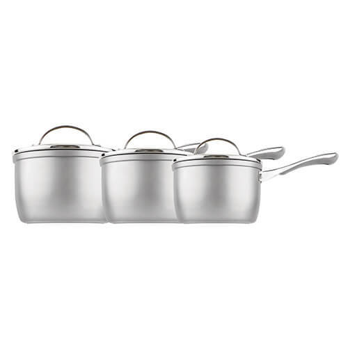 Prestige Prism 14cm, 16cm and 18cm saucepan set, Aluminium, Silver, 3 piece set