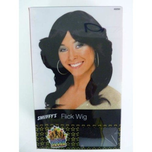 1970's Adult's Black Flick Wig -  wig flick 70s fancy dress black ladies farrah accessory 1970s disco costume angels long