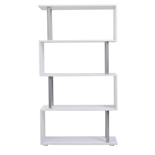 Homcom Wooden S Shape Storage Unit | White S Shape Bookcase