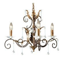 Bronze/Gold 3lt Chandelier - 3 x 60W E14 by Happy Homewares