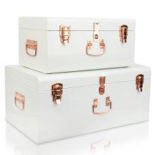 2pc Large White & Rose Gold Steel Storage Trunks