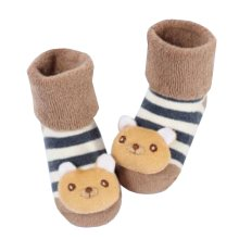 [Bear] Thick Infant Toddler Cotton Socks for Baby, 6-18 Months, 2 Pairs