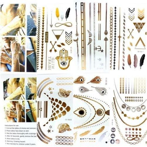 2 x Card Metallic Temporary Tattoo Silver Black Gold Body Art Tattoos Necklace