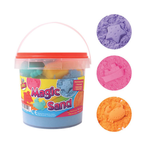 Sand Magic Play 1kg Play Tub Set Sand 6 Moulds Kinectic Squeeze Sand