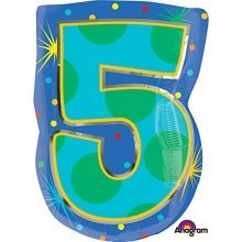 Confetti Dots Number 5 Junior Shape Foil Balloons 14/35cm W x 21/53cm H S60 -