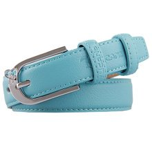 Sky Blue Ladies Fashionable Joker Belts Leather Pin buckle Casual Bales Catch