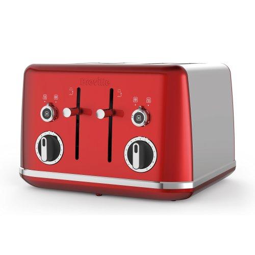 Breville VTT852 Lustra Candy 4 Slice Toaster, Stainless Steel, Red