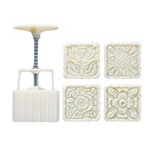 125G Square Shape Moon Cake Mold 4 Stamps Cake Mold Cookie Mold