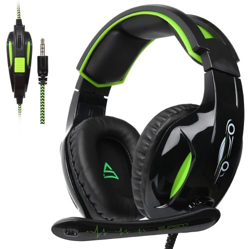 SUPSOO G813 3.5mm Stereo Gaming Headsets Over-Ear Headphones (Black&Green)