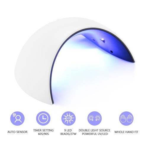 Nail Lamp,27W UV LED Nail Dryer Curing Lamp with 60S/90S Timer Setting and Automatic Sensor for Fingernail and Toenail Gels