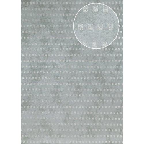 Atlas ICO-5071-4 Graphic wallpaper shimmering pigeon-blue silver 7.035 sqm
