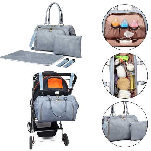 b713df32ce500 Miss Lulu 3 Pieces Baby Nappy Diaper Changing Bag PU Leather Blue on OnBuy