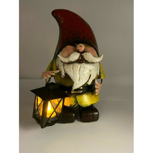 Hand Painted Metal Garden Gnome with Tealight Candle Lantern Ornament Gift