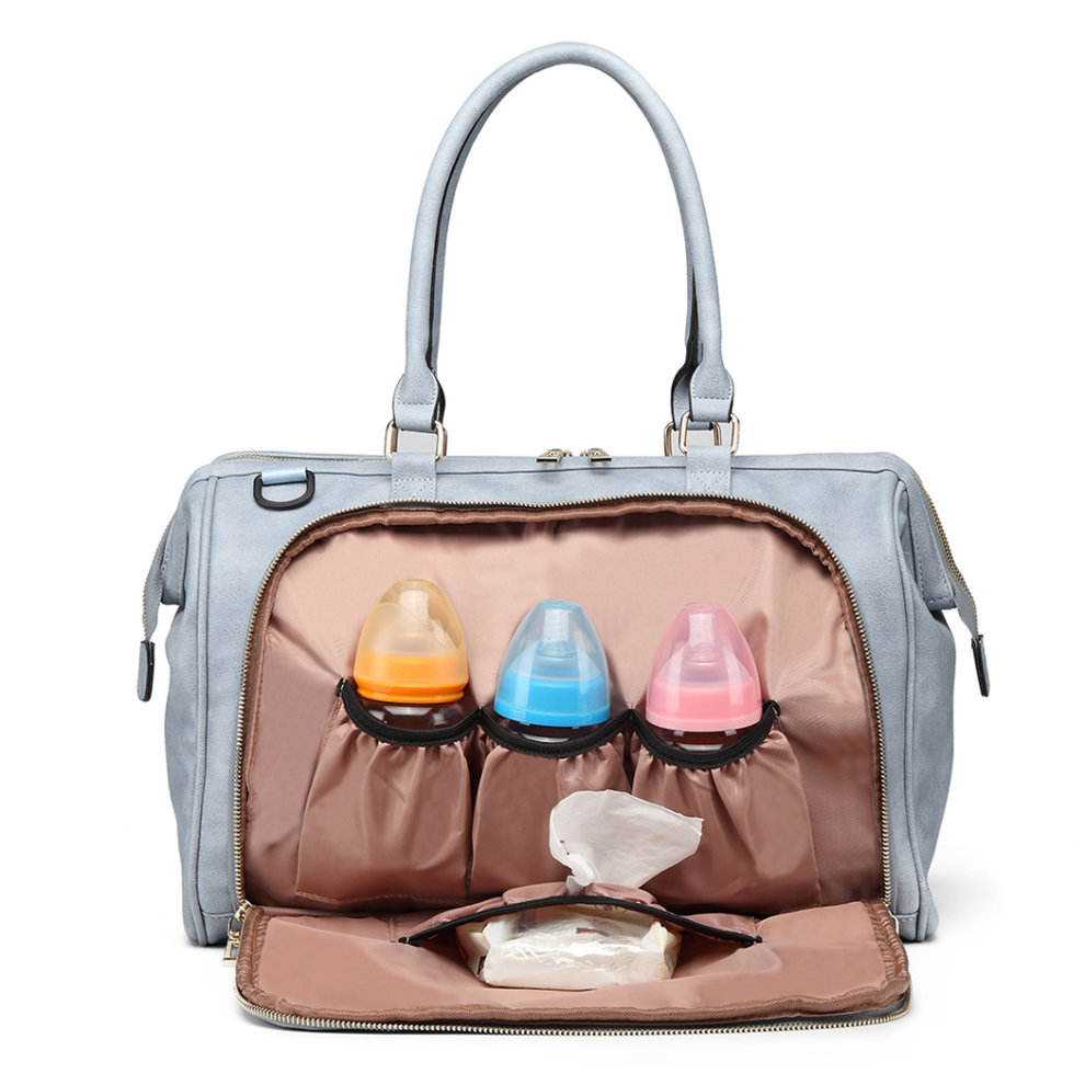 fd3e432150753 ... Miss Lulu 3 Pieces Baby Nappy Diaper Changing Bag PU Leather Blue - 5  ...