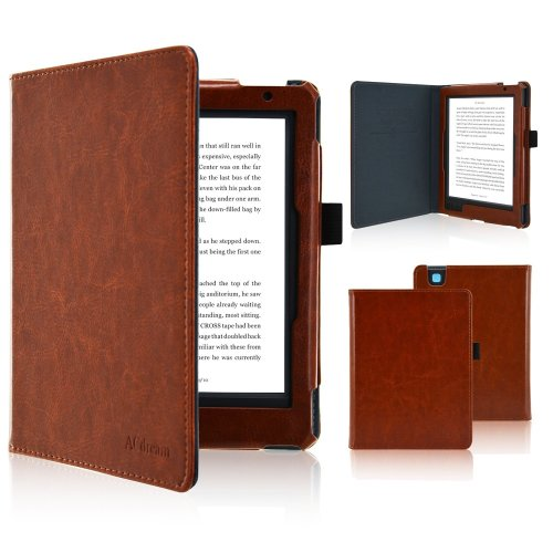 Fskying Kobo Aura Edition 2 Case, Premium Leather Ereader Cover Case with Auto Sleep/Wake for Kobo Aura Edition 2, Brown