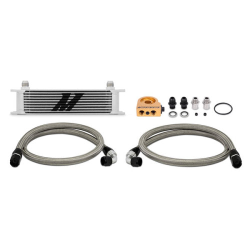 Mishimoto MMOC-UT 10-Row Universal Oil Cooler Kit, Silver Thermostatic