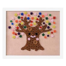 Lovely Flower Tree DIY Button Painting Mosaic Craft for Kids
