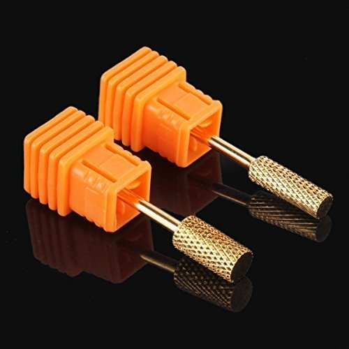 Yimart 2Pcs Gold Coated Nail Drill 332 Carbide Electric Coarse Bits File