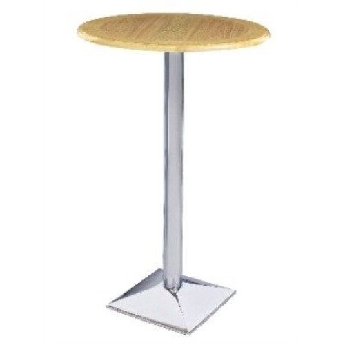 Stran Tall Table Chrome and Wood Poseur - Round Top Square Base Walnut Veneer 75 Silver