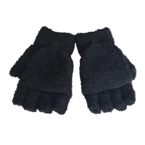 Women's/Girls Fingerless With Mitten Cover Plush Gloves,black
