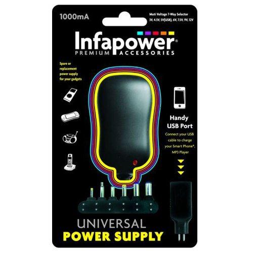 Infapower P002 Handy 1000mA 7-Way Universal Power Supply AC/DC USB Adaptor
