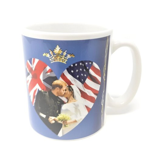 Royal Wedding 2018 Mug Prince Harry Meghan Markle Kiss Souvenir Cup Love Heart UK USA Flag Union Jack Stars & Stripes Duke Duchess of Sussex