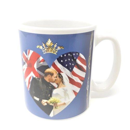 Royal Wedding 2018 Mug Prince Harry Meghan Markle Kiss Souvenir Cup Love Heart UK USA Flag Union Jack Stars & Stripes Duke Duchess of Sussex