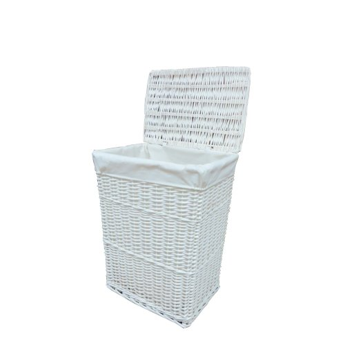 Laundry Basket Wicker Medium White with Liner