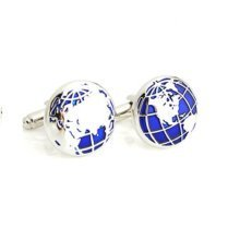 Stainless Steel Blue Silver World Map Globe Atlas Cufflinks Cuff Links