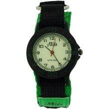 Relda Nite-Glo Quartz Luminous Dial Green & Black Velcro Boys Watch REL55