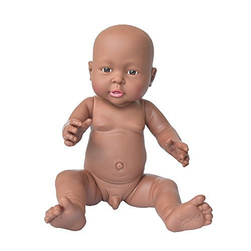 African American Baby Doll, Rifi 16 Inches Nontoxic Naked Latex Rotocast Blcak Baby Doll Boy