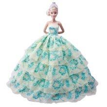 Beautiful Princess Wedding Costume Party Evening Dress Dolls Dress-up Costume Gift Idea, E