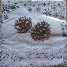 4 x Christmas Paper Napkins - Fir Cones - Ideal for Decoupage