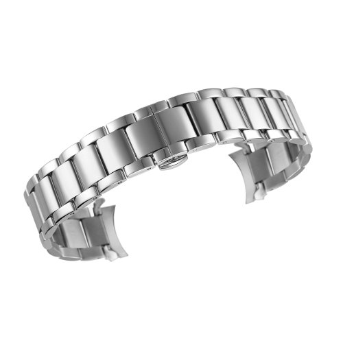 72a3c1cc6c556 20mm Men's Deluxe Vintage Watch Band Bracelet in Silver Curved End 316L  Stainless Steel Deployment Clasp on OnBuy