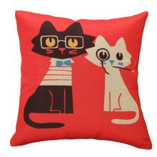 Decor Cotton Linen Decorative Throw Pillow Case Cushion Cover,Glasses Cat