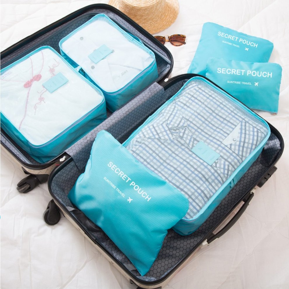 900bb9cd5e2c Packing Cubes - WantGor 6pcs Sets Travel Storage Bag Organizer Luggage  Compression Pouches (Blue)