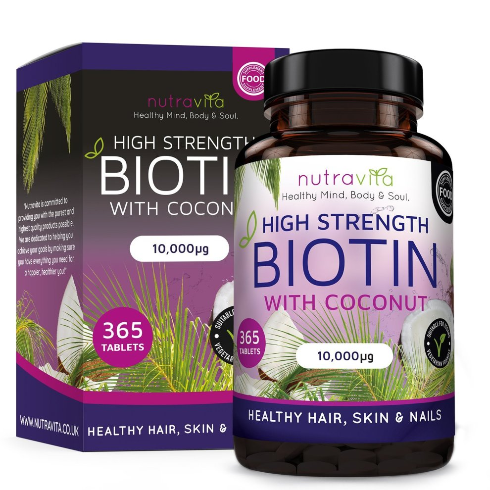 Biotin (High Potency) Coconut Oil Hair Growth Supplement 10,000mcg 1 Year  Supply