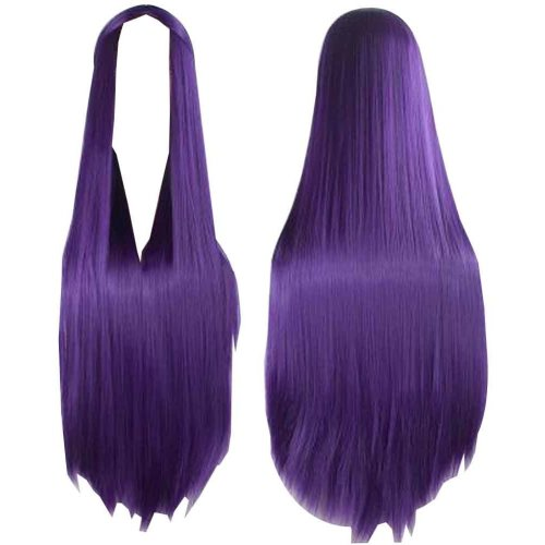 Center Parting Long Straight Cosplay Wig for Halloween Anime Fans [Purple]